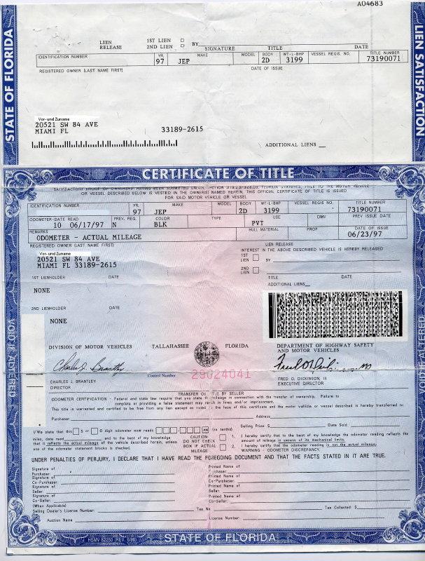 Florida Motor Vehicle Title Application